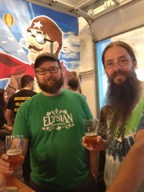 That's John Dalton from Elysian, alongside Bill Jenkins from the NorthGate RAM Brewery